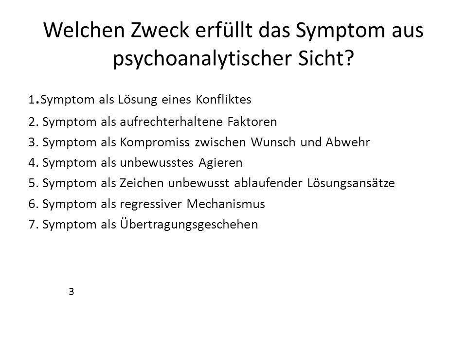 Welchen Zweck erfüllt das Symptom aus psychoanalytischer Sicht? 1. Symptom als Lösung eines Konfliktes 2. Symptom als aufrechterhaltene Faktoren 3. Sy