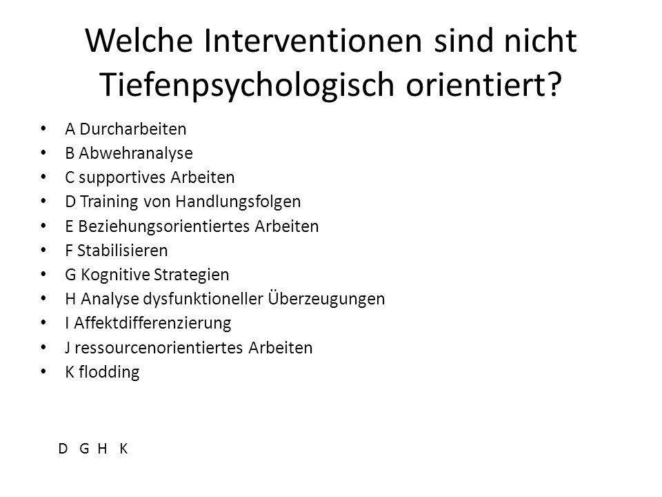 Welche Interventionen sind nicht Tiefenpsychologisch orientiert? A Durcharbeiten B Abwehranalyse C supportives Arbeiten D Training von Handlungsfolgen