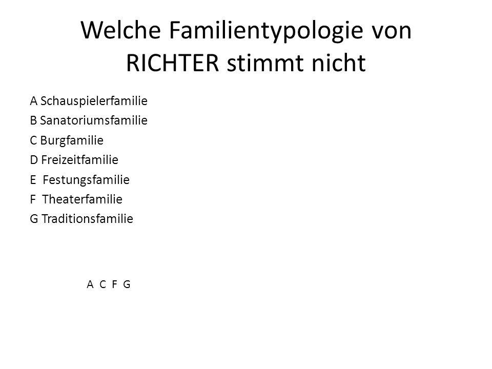 Welche Familientypologie von RICHTER stimmt nicht A Schauspielerfamilie B Sanatoriumsfamilie C Burgfamilie D Freizeitfamilie E Festungsfamilie F Theat