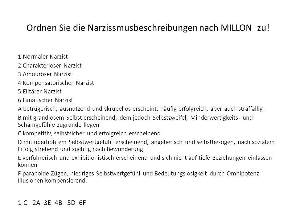 Ordnen Sie die Narzissmusbeschreibungen nach MILLON zu! 1 Normaler Narzist 2 Charakterloser Narzist 3 Amouröser Narzist 4 Kompensatorischer Narzist 5