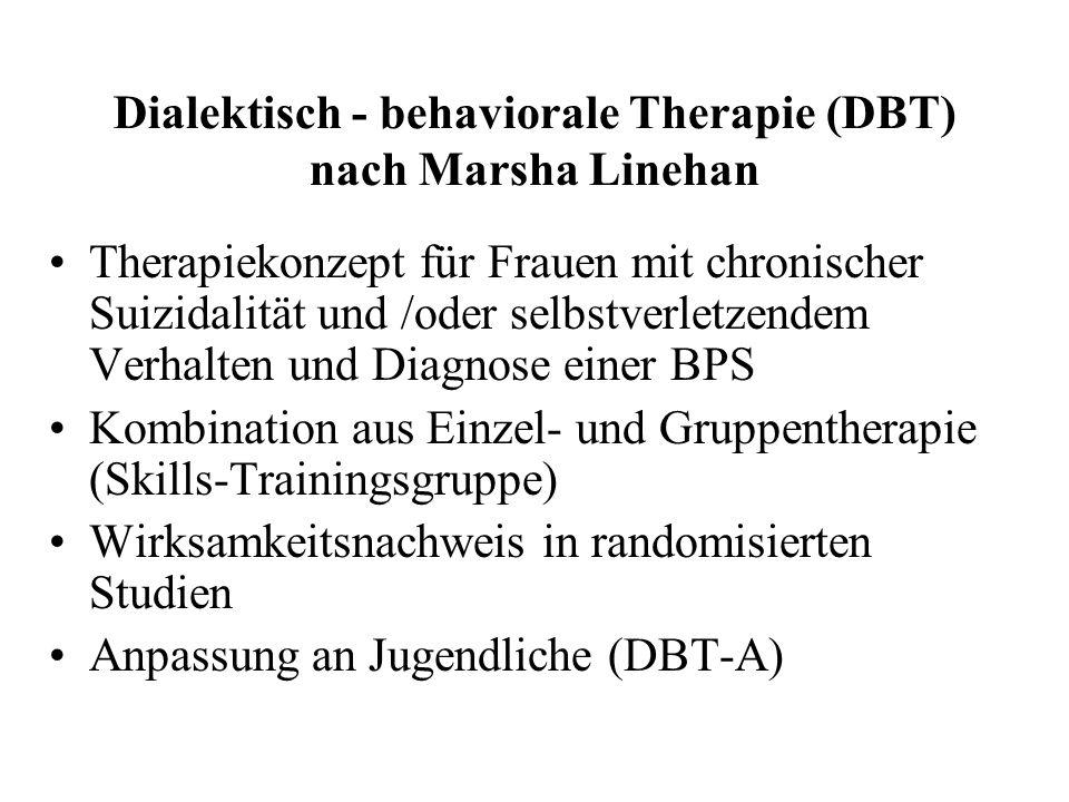Dialektisch - behaviorale Therapie (DBT) nach Marsha Linehan Therapiekonzept für Frauen mit chronischer Suizidalität und /oder selbstverletzendem Verh