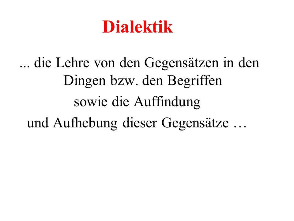 Dialektik... die Lehre von den Gegensätzen in den Dingen bzw. den Begriffen sowie die Auffindung und Aufhebung dieser Gegensätze …