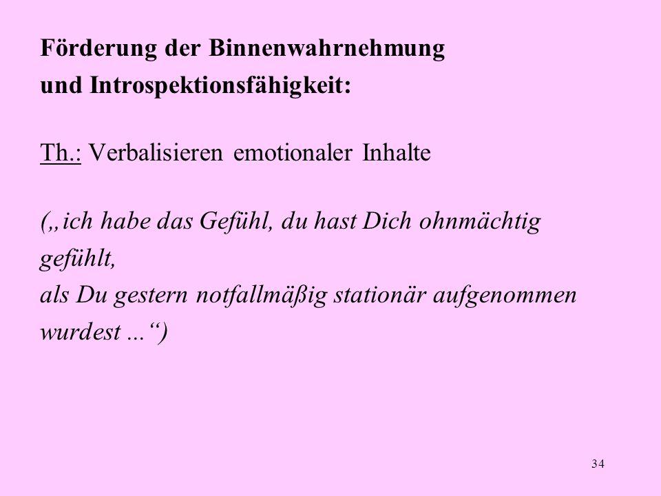 """34 Förderung der Binnenwahrnehmung und Introspektionsfähigkeit: Th.: Verbalisieren emotionaler Inhalte (""""ich habe das Gefühl, du hast Dich ohnmächtig"""