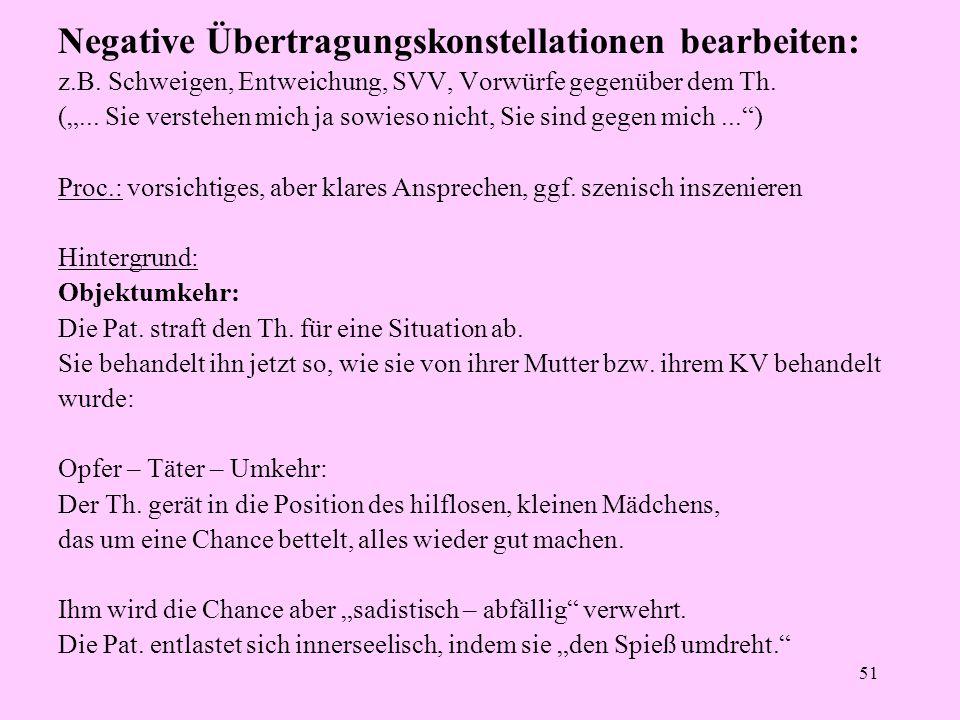 """51 Negative Übertragungskonstellationen bearbeiten: z.B. Schweigen, Entweichung, SVV, Vorwürfe gegenüber dem Th. (""""... Sie verstehen mich ja sowieso n"""