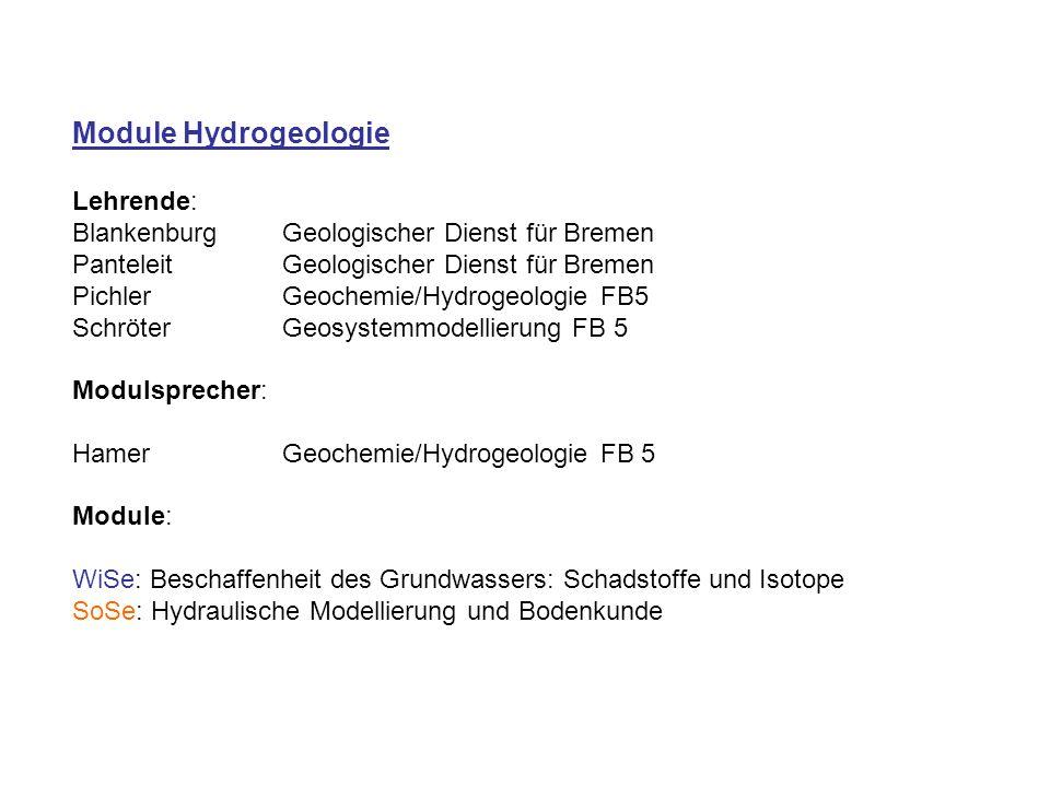 Module Hydrogeologie Lehrende: BlankenburgGeologischer Dienst für Bremen PanteleitGeologischer Dienst für Bremen PichlerGeochemie/Hydrogeologie FB5 SchröterGeosystemmodellierung FB 5 Modulsprecher: HamerGeochemie/Hydrogeologie FB 5 Module: WiSe: Beschaffenheit des Grundwassers: Schadstoffe und Isotope SoSe: Hydraulische Modellierung und Bodenkunde