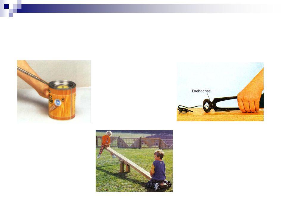 Reale Hebel In der Technik werden Hebel durch ihre drei Komponenten beschrieben: Lastarm: Die Seite, an der sich die zu bewegende Last befindet Kraftarm: Die Seite, an der die bewegende Kraft anliegt Angelpunkt bzw.