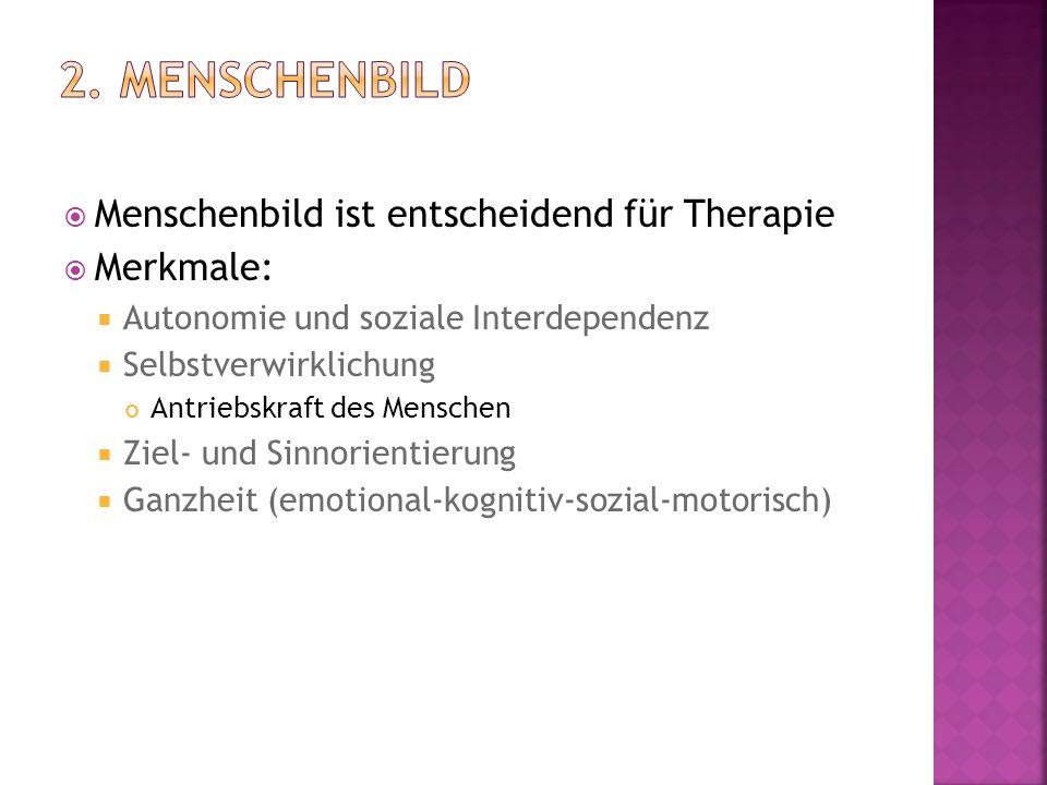  Menschenbild ist entscheidend für Therapie  Merkmale:  Autonomie und soziale Interdependenz  Selbstverwirklichung Antriebskraft des Menschen  Ziel- und Sinnorientierung  Ganzheit (emotional-kognitiv-sozial-motorisch)