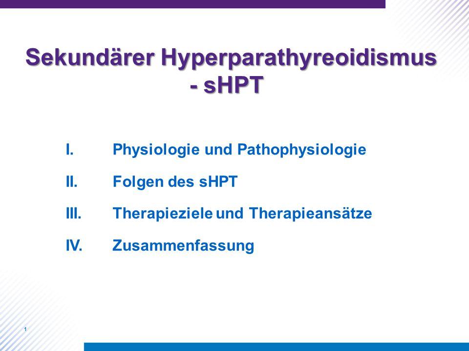 1 I.Physiologie und Pathophysiologie II.Folgen des sHPT III.Therapieziele und Therapieansätze IV.Zusammenfassung Sekundärer Hyperparathyreoidismus - sHPT