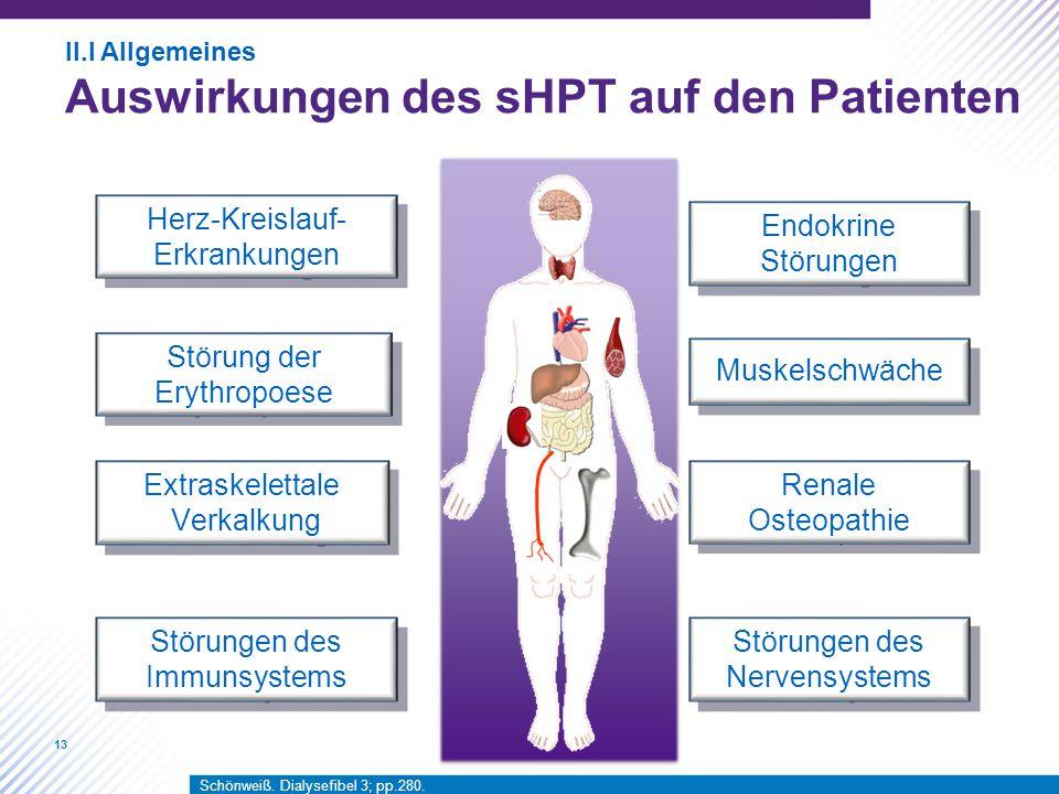 13 Störungen des Nervensystems Herz-Kreislauf- Erkrankungen Renale Osteopathie Extraskelettale Verkalkung Extraskelettale Verkalkung Endokrine Störung