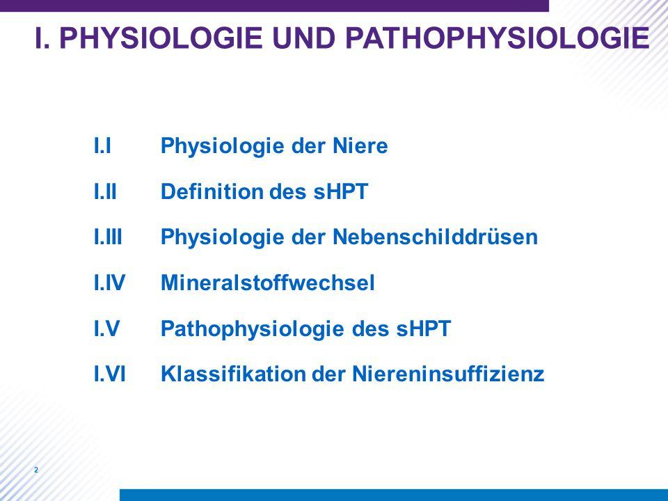2 I.IPhysiologie der Niere I.IIDefinition des sHPT I.IIIPhysiologie der Nebenschilddrüsen I.IVMineralstoffwechsel I.VPathophysiologie des sHPT I.VIKla