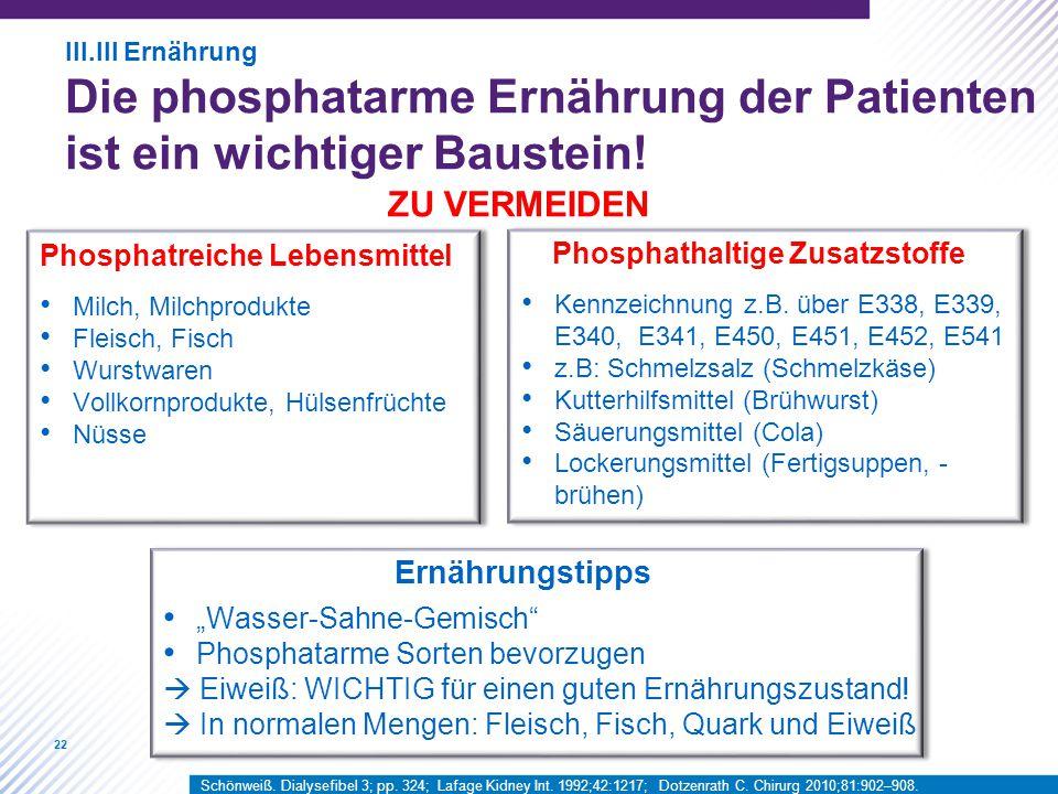 22 Phosphatreiche Lebensmittel Milch, Milchprodukte Fleisch, Fisch Wurstwaren Vollkornprodukte, Hülsenfrüchte Nüsse Phosphathaltige Zusatzstoffe Kennz