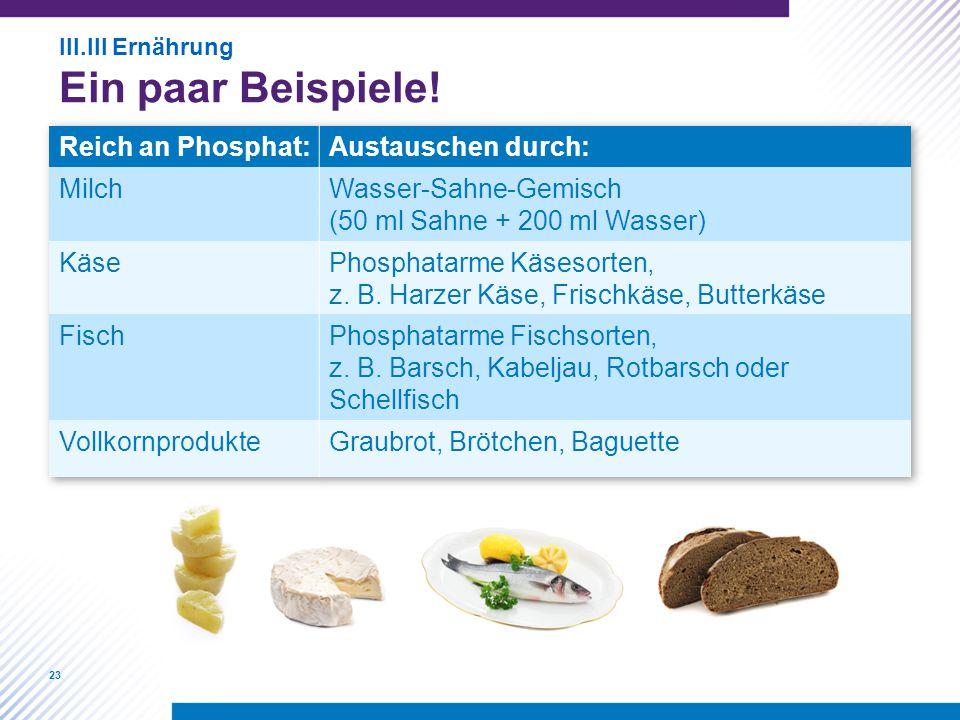 23 III.III Ernährung Ein paar Beispiele!