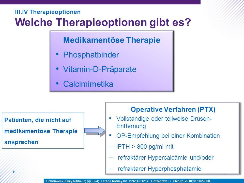 24 Patienten, die nicht auf medikamentöse Therapie ansprechen Medikamentöse Therapie Phosphatbinder Vitamin-D-Präparate Calcimimetika Operative Verfahren (PTX) Vollständige oder teilweise Drüsen- Entfernung OP-Empfehlung bei einer Kombination  iPTH > 800 pg/ml mit  refraktärer Hypercalcämie und/oder  refraktärer Hyperphosphatämie III.IV Therapieoptionen Welche Therapieoptionen gibt es.
