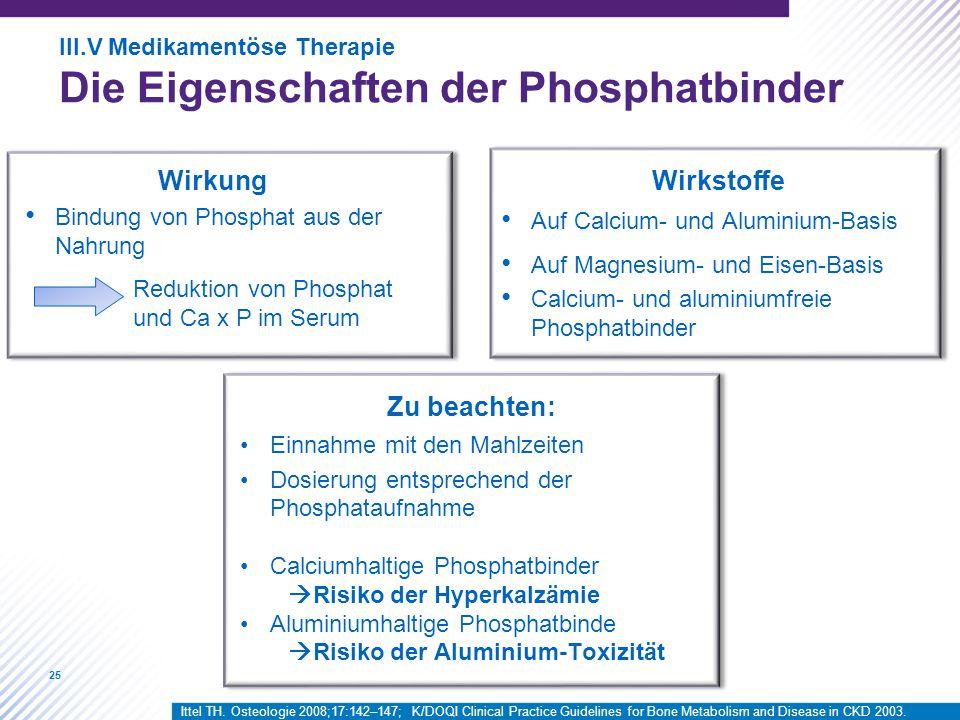 25 Wirkung Bindung von Phosphat aus der Nahrung Auf Calcium- und Aluminium-Basis Auf Magnesium- und Eisen-Basis Calcium- und aluminiumfreie Phosphatbinder Einnahme mit den Mahlzeiten Dosierung entsprechend der Phosphataufnahme Calciumhaltige Phosphatbinder  Risiko der Hyperkalzämie Aluminiumhaltige Phosphatbinde  Risiko der Aluminium-Toxizität Reduktion von Phosphat und Ca x P im Serum Wirkstoffe Zu beachten: III.V Medikamentöse Therapie Die Eigenschaften der Phosphatbinder Ittel TH.