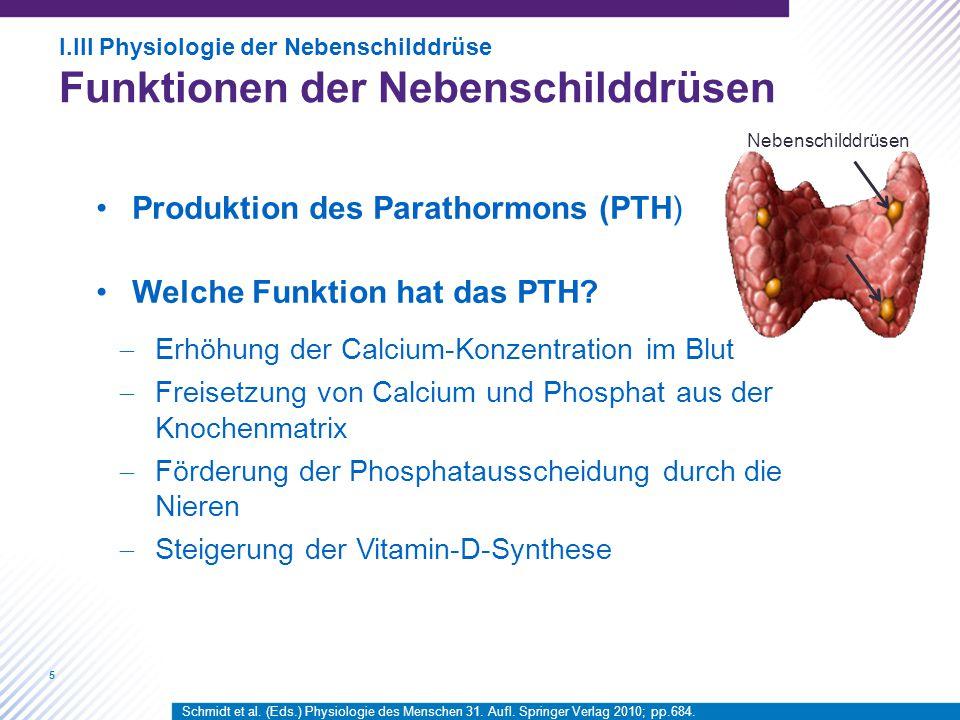 5 Produktion des Parathormons (PTH) Welche Funktion hat das PTH?  Erhöhung der Calcium-Konzentration im Blut  Freisetzung von Calcium und Phosphat a