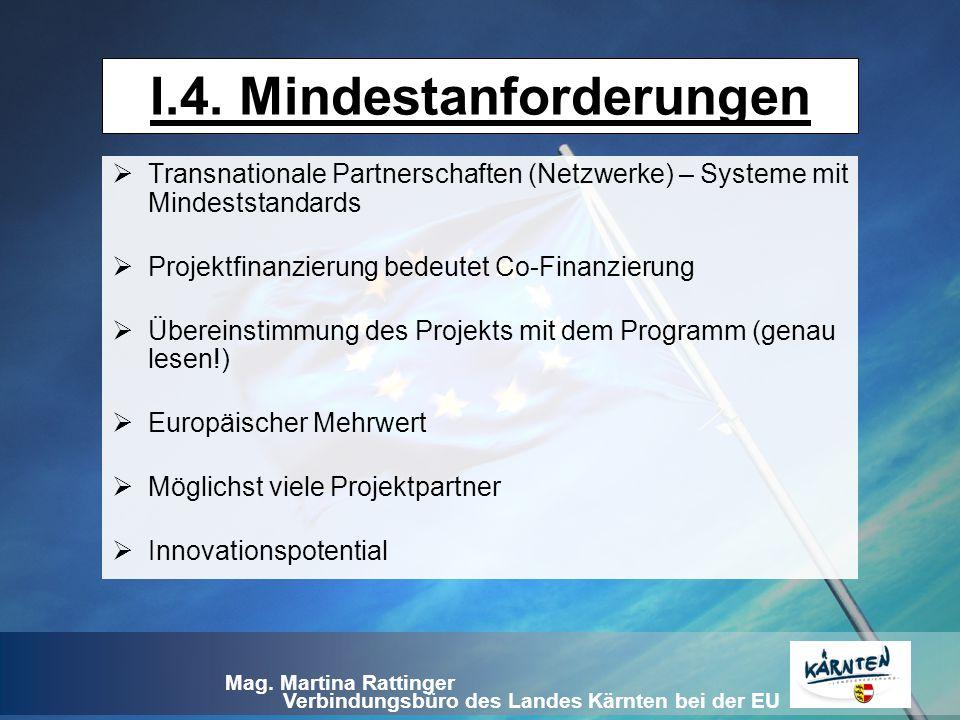Verbindungsbüro des Landes Kärnten bei der EU Mag. Martina Rattinger I.4. Mindestanforderungen  Transnationale Partnerschaften (Netzwerke) – Systeme