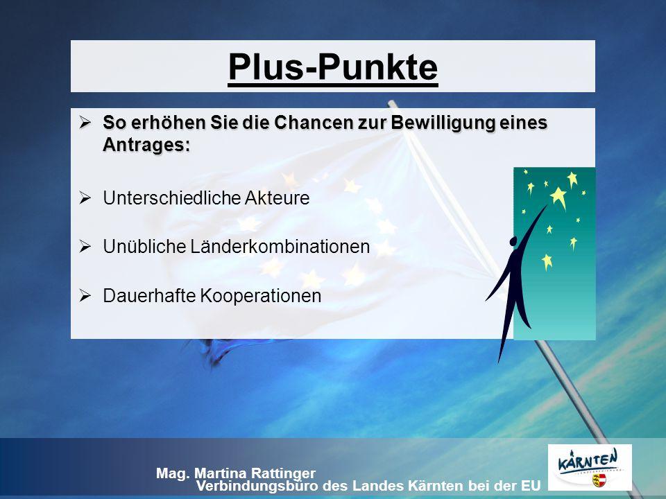 Verbindungsbüro des Landes Kärnten bei der EU Mag. Martina Rattinger Plus-Punkte  So erhöhen Sie die Chancen zur Bewilligung eines Antrages:  Unters