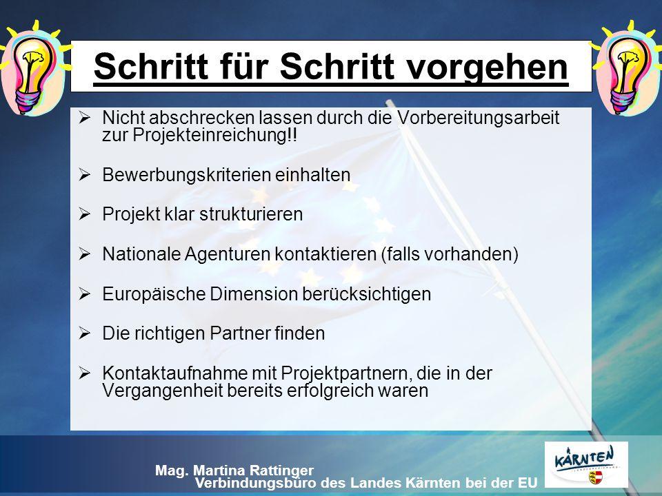 Verbindungsbüro des Landes Kärnten bei der EU Mag. Martina Rattinger Schritt für Schritt vorgehen  Nicht abschrecken lassen durch die Vorbereitungsar