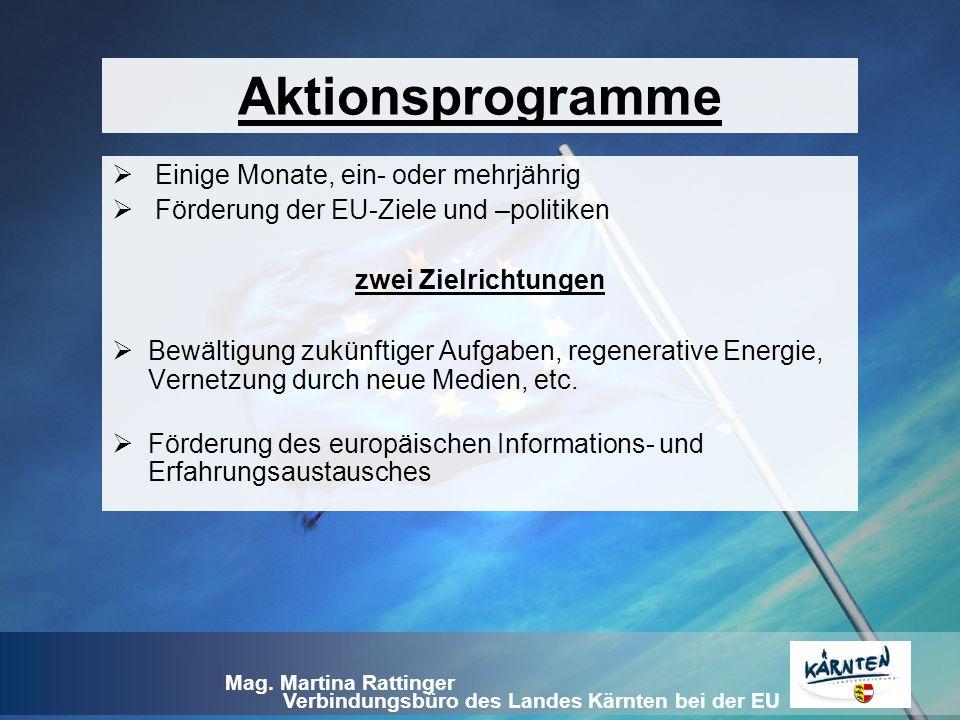 Verbindungsbüro des Landes Kärnten bei der EU Mag. Martina Rattinger Aktionsprogramme  Einige Monate, ein- oder mehrjährig  Förderung der EU-Ziele u