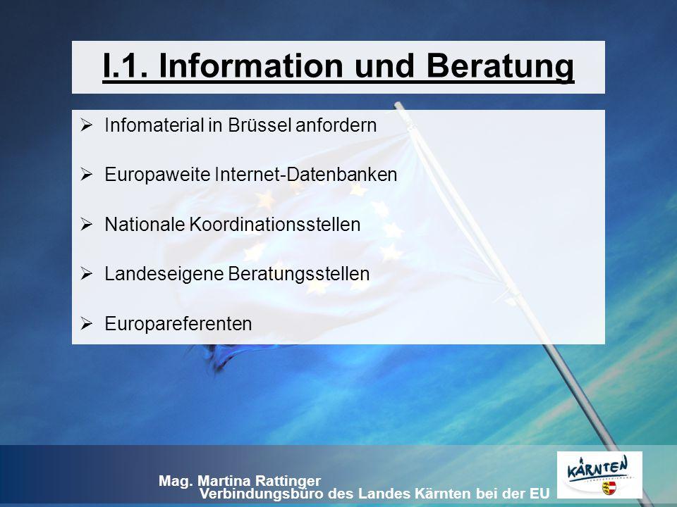 Verbindungsbüro des Landes Kärnten bei der EU Mag. Martina Rattinger I.1. Information und Beratung  Infomaterial in Brüssel anfordern  Europaweite I