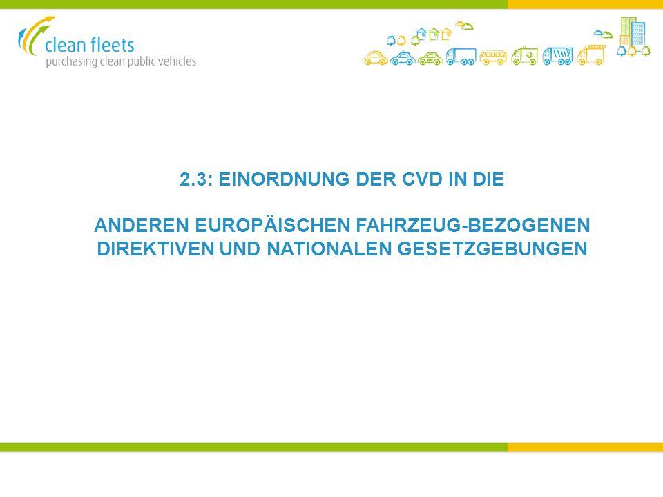 2.3: EINORDNUNG DER CVD IN DIE ANDEREN EUROPÄISCHEN FAHRZEUG-BEZOGENEN DIREKTIVEN UND NATIONALEN GESETZGEBUNGEN