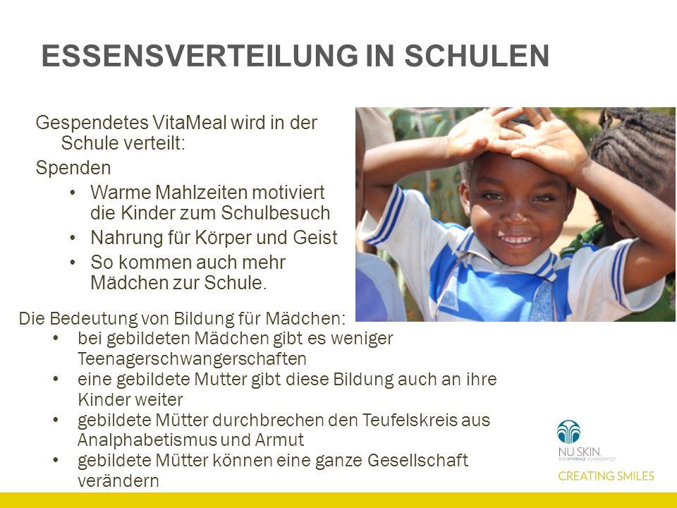 ESSENSVERTEILUNG IN SCHULEN Gespendetes VitaMeal wird in der Schule verteilt: Spenden Warme Mahlzeiten motiviert die Kinder zum Schulbesuch Nahrung fü