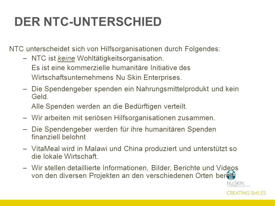 DER NTC-UNTERSCHIED NTC unterscheidet sich von Hilfsorganisationen durch Folgendes: –NTC ist keine Wohltätigkeitsorganisation. Es ist eine kommerziell