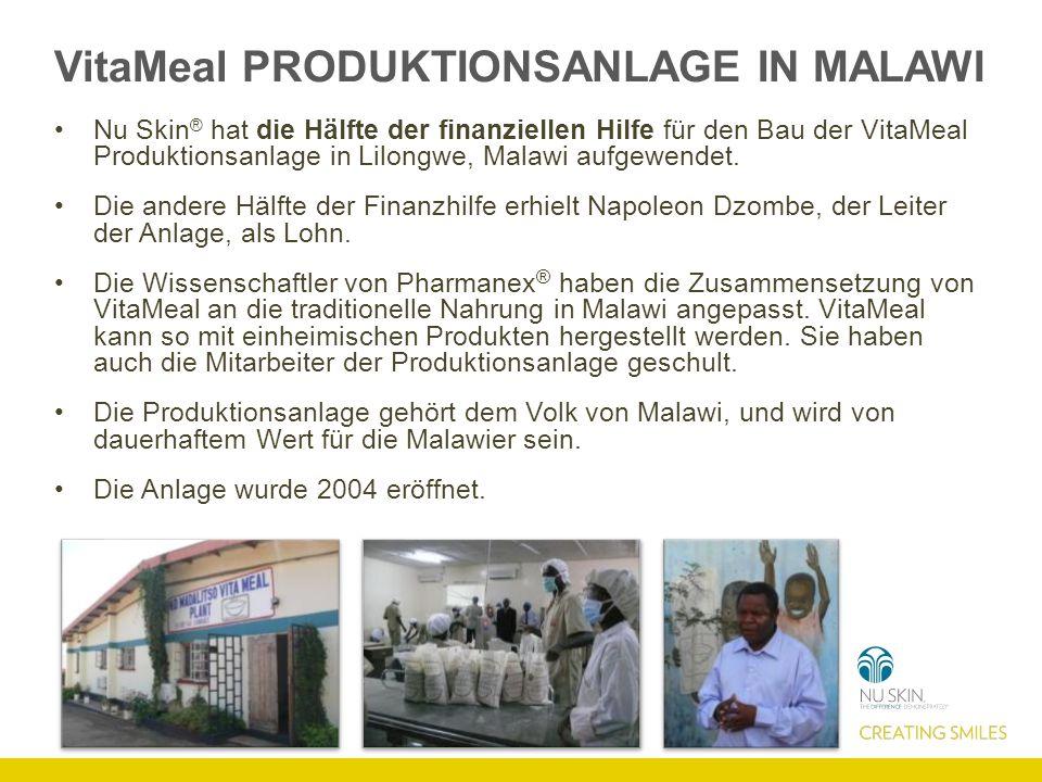 VitaMeal PRODUKTIONSANLAGE IN MALAWI Nu Skin ® hat die Hälfte der finanziellen Hilfe für den Bau der VitaMeal Produktionsanlage in Lilongwe, Malawi aufgewendet.