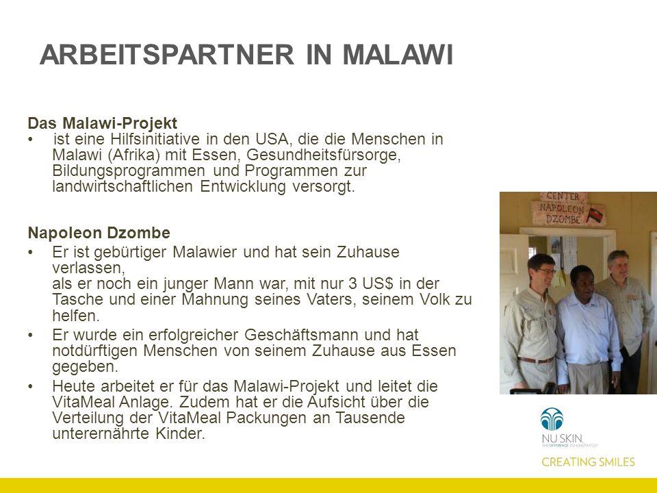 ARBEITSPARTNER IN MALAWI Das Malawi-Projekt ist eine Hilfsinitiative in den USA, die die Menschen in Malawi (Afrika) mit Essen, Gesundheitsfürsorge, Bildungsprogrammen und Programmen zur landwirtschaftlichen Entwicklung versorgt.