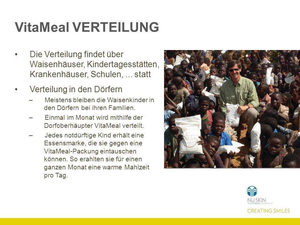 VitaMeal VERTEILUNG Die Verteilung findet über Waisenhäuser, Kindertagesstätten, Krankenhäuser, Schulen,...