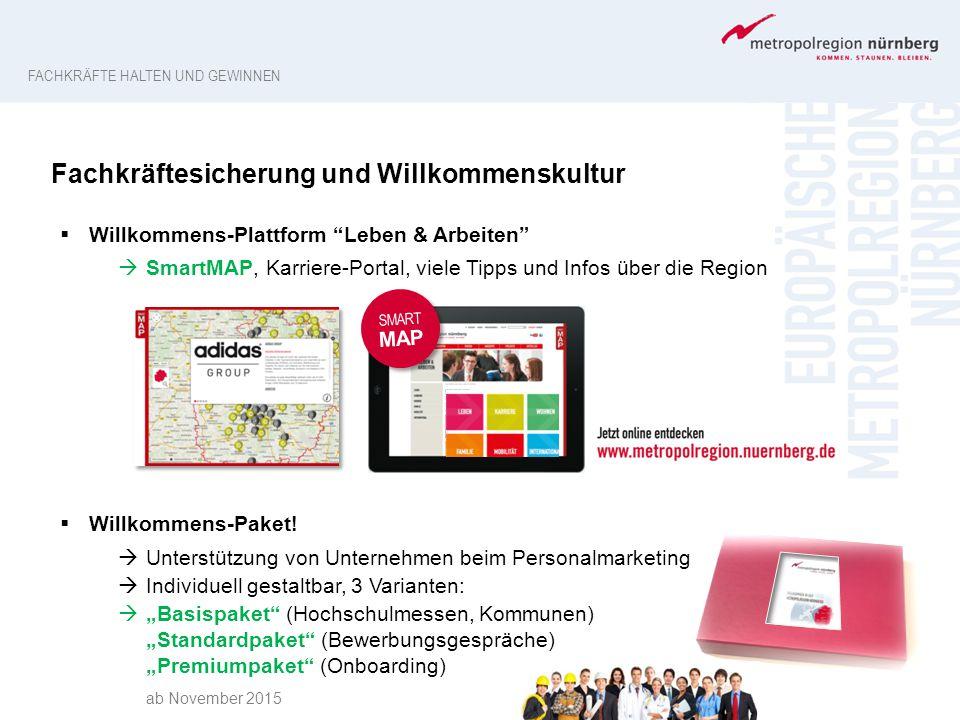"""FACHKRÄFTE HALTEN UND GEWINNEN SMART MAP Fachkräftesicherung und Willkommenskultur  Willkommens-Plattform """"Leben & Arbeiten""""  SmartMAP, Karriere-Por"""