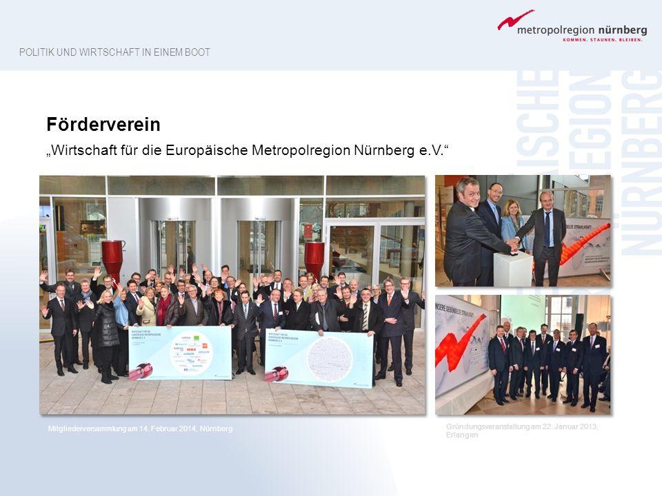 """POLITIK UND WIRTSCHAFT IN EINEM BOOT Mitgliederversammlung am 14. Februar 2014, Nürnberg Förderverein """"Wirtschaft für die Europäische Metropolregion N"""