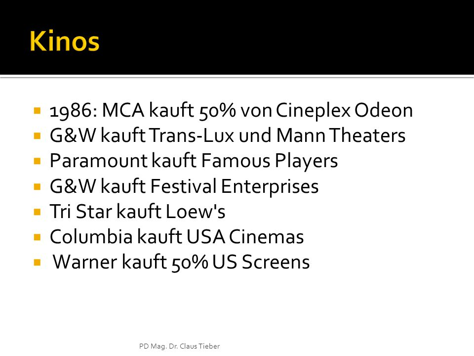  1986: MCA kauft 50% von Cineplex Odeon  G&W kauft Trans-Lux und Mann Theaters  Paramount kauft Famous Players  G&W kauft Festival Enterprises  Tri Star kauft Loew s  Columbia kauft USA Cinemas  Warner kauft 50% US Screens PD Mag.
