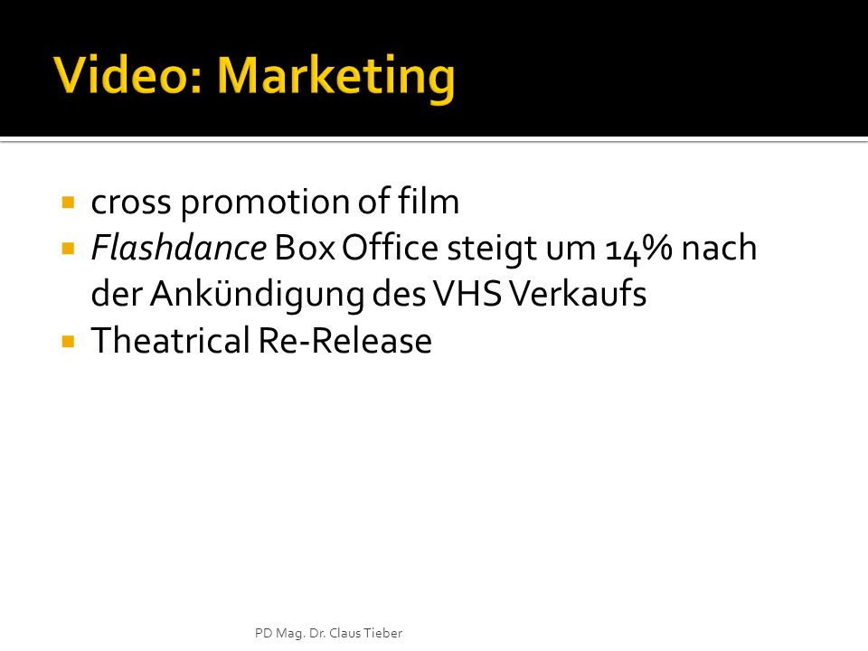  cross promotion of film  Flashdance Box Office steigt um 14% nach der Ankündigung des VHS Verkaufs  Theatrical Re-Release PD Mag.