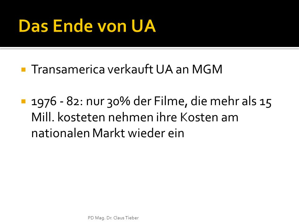  Transamerica verkauft UA an MGM  1976 - 82: nur 30% der Filme, die mehr als 15 Mill.