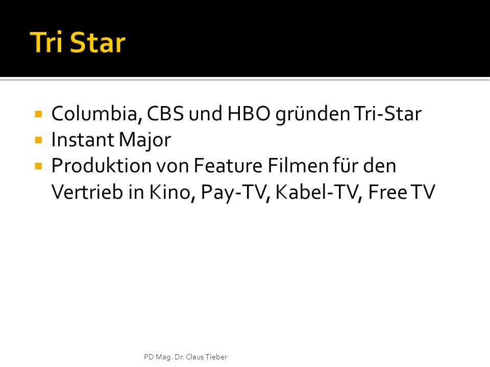  Columbia, CBS und HBO gründen Tri-Star  Instant Major  Produktion von Feature Filmen für den Vertrieb in Kino, Pay-TV, Kabel-TV, Free TV PD Mag.
