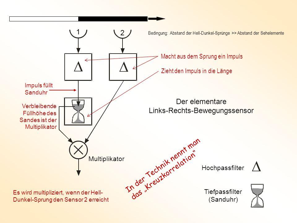 """  Der elementare Links-Rechts-Bewegungssensor  Hochpassfilter Tiefpassfilter (Sanduhr) Multiplikator Impuls füllt Sanduhr Bedingung: Abstand der Hell-Dunkel-Sprünge >> Abstand der Sehelemente Verbleibende Füllhöhe des Sandes ist der Multiplikator Es wird multipliziert, wenn der Hell- Dunkel-Sprung den Sensor 2 erreicht 1 2 In der Technik nennt man das """"Kreuzkorrelation Macht aus dem Sprung ein Impuls Zieht den Impuls in die Länge"""