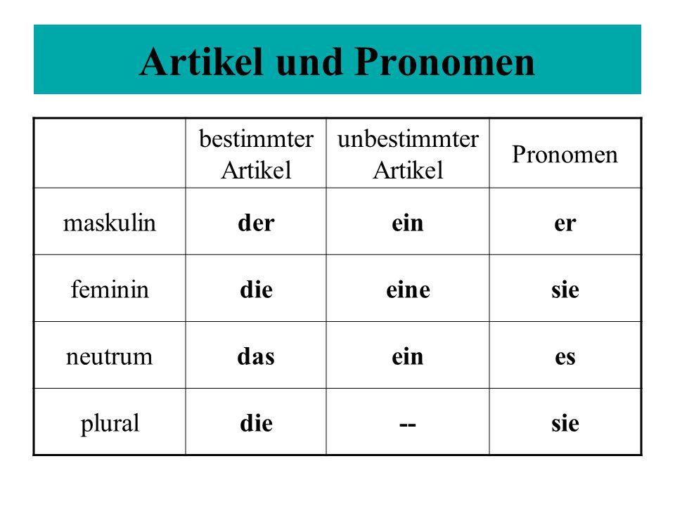 bestimmter Artikel unbestimmter Artikel Pronomen maskulindereiner feminindieeinesie neutrumdaseines pluraldie--sie Artikel und Pronomen