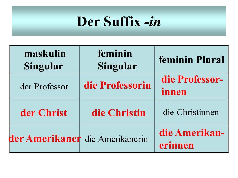 Der Suffix -in maskulin Singular feminin Singular feminin Plural der Professor die Christinnen die Amerikanerin die Professorin die Professor- innen d