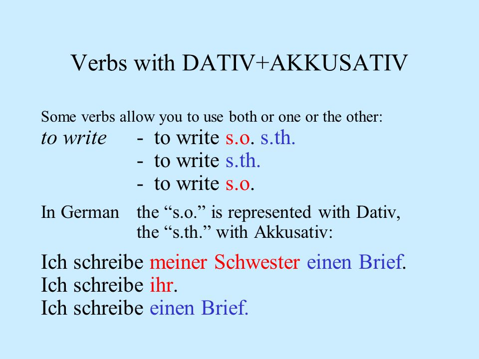 Verbs with DATIV+AKKUSATIV There are a number of verbs that are often followed by two objects - direct and indirect: to give - to give someone somethi