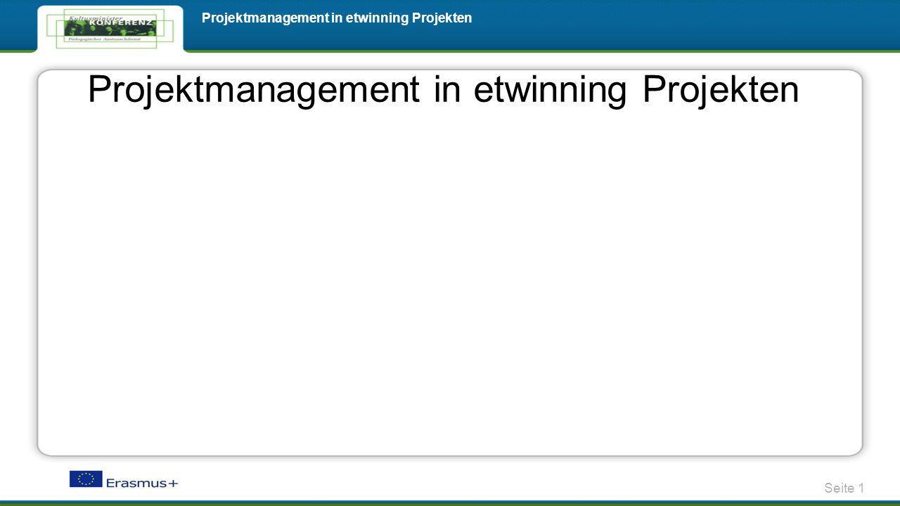 Seite 1 Projektmanagement in etwinning Projekten