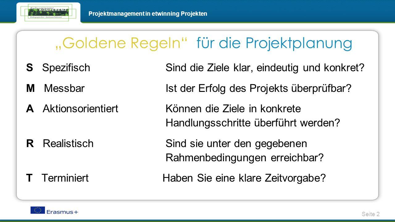Seite 2 Projektmanagement in etwinning Projekten S Spezifisch Sind die Ziele klar, eindeutig und konkret? M Messbar Ist der Erfolg des Projekts überpr