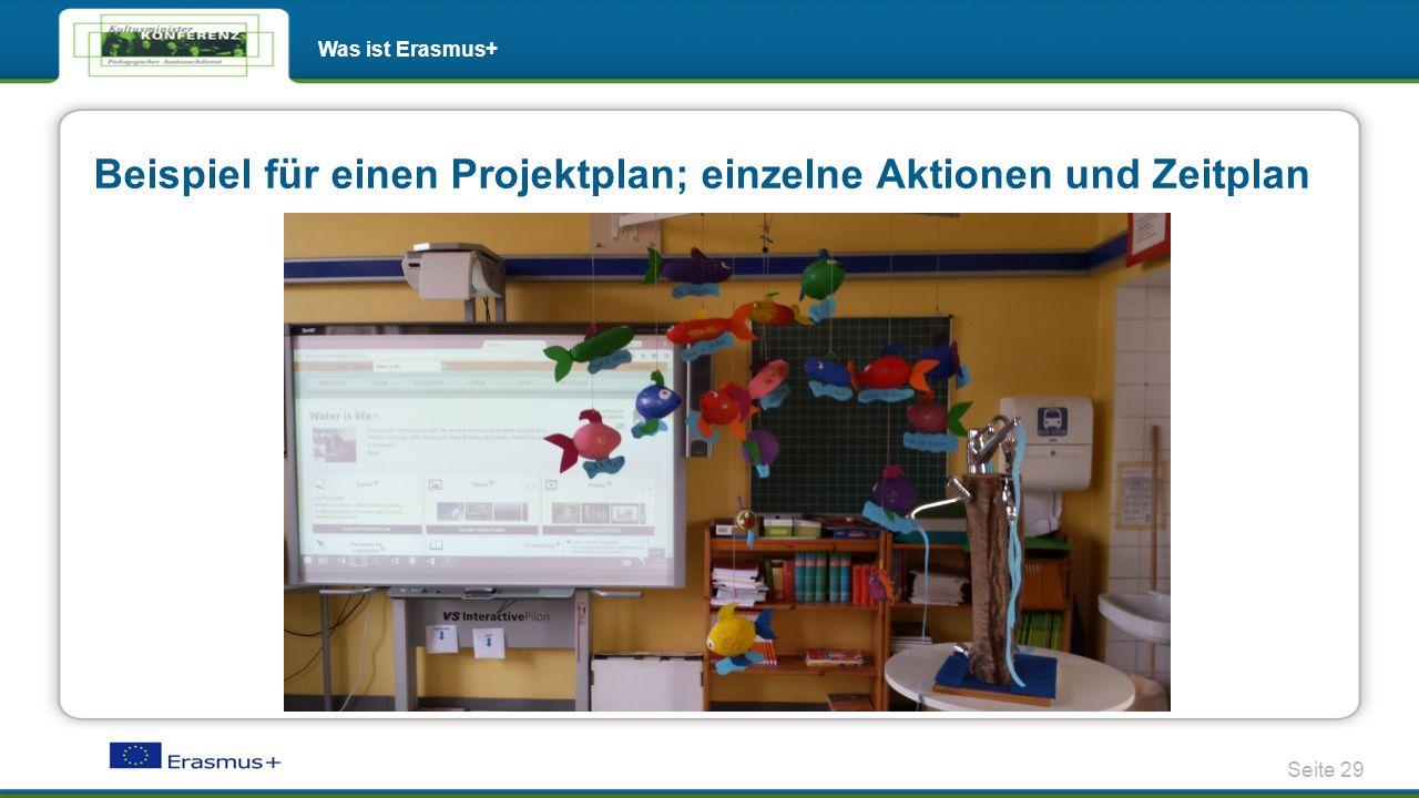 Beispiel für einen Projektplan; einzelne Aktionen und Zeitplan  http://twinspace.etwinning.net/1071/pages/page/3956 Seite 29 Was ist Erasmus+