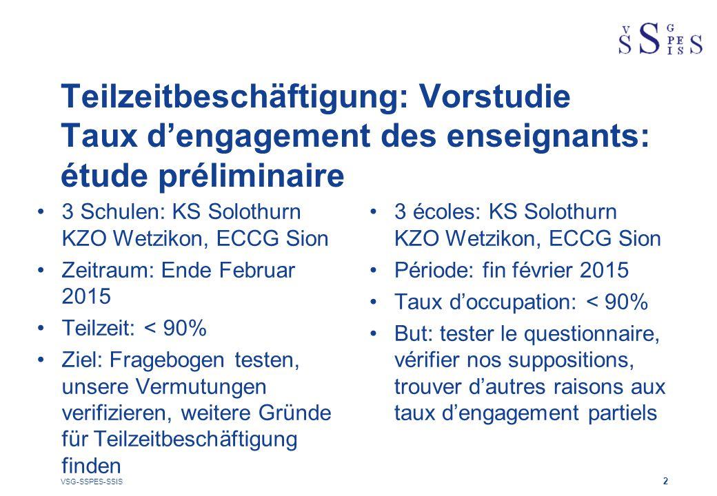 Teilzeitbeschäftigung: Vorstudie Taux d'engagement des enseignants: étude préliminaire 3 Schulen: KS Solothurn KZO Wetzikon, ECCG Sion Zeitraum: Ende