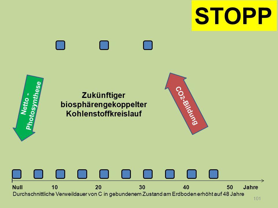 Netto - Photosynthese 101 1020304050 Jahre Durchschnittliche Verweildauer von C in gebundenem Zustand am Erdboden erhöht auf 48 Jahre Null CO 2 -Bildu