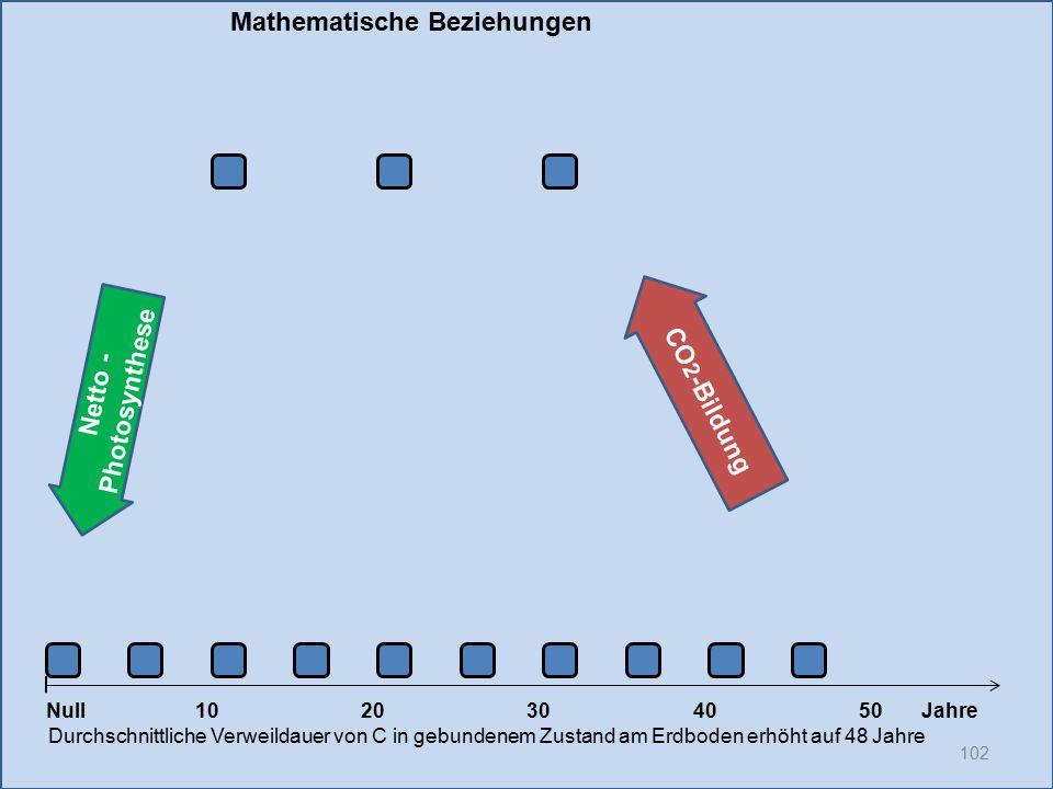 Netto - Photosynthese 102 1020304050 Jahre Durchschnittliche Verweildauer von C in gebundenem Zustand am Erdboden erhöht auf 48 Jahre Null CO 2 -Bildu