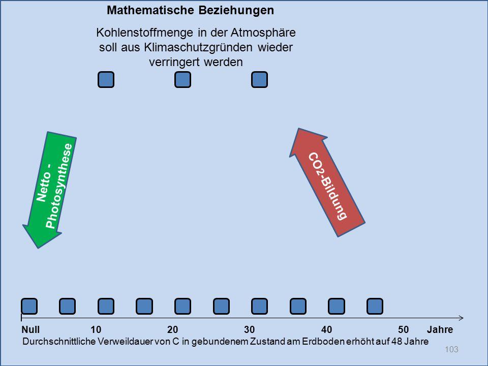 Netto - Photosynthese 103 1020304050 Jahre Durchschnittliche Verweildauer von C in gebundenem Zustand am Erdboden erhöht auf 48 Jahre Null CO 2 -Bildu