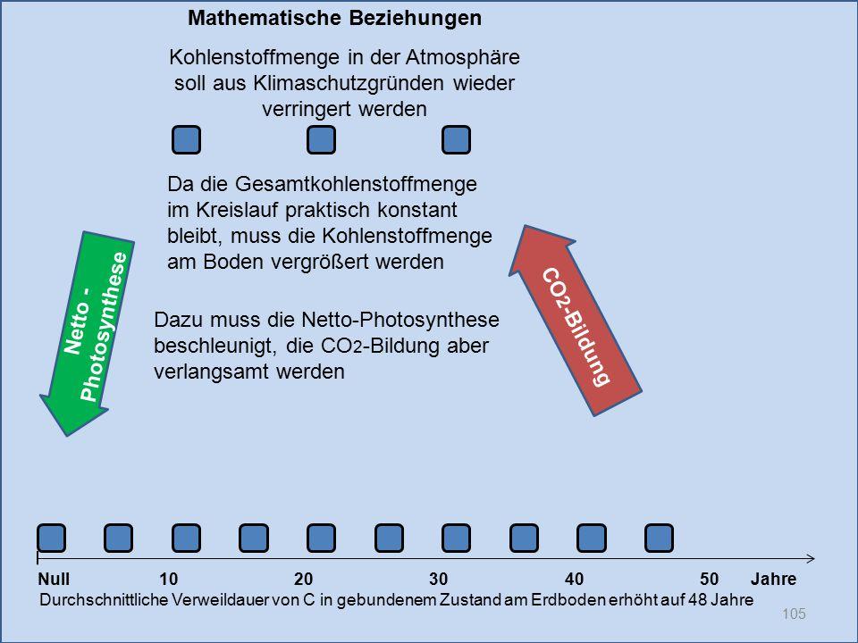 Netto - Photosynthese 105 1020304050 Jahre Durchschnittliche Verweildauer von C in gebundenem Zustand am Erdboden erhöht auf 48 Jahre Null CO 2 -Bildu