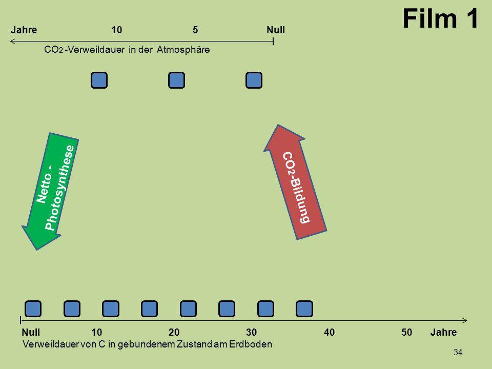 Netto - Photosynthese Film 1 1020304050 Jahre Verweildauer von C in gebundenem Zustand am Erdboden CO 2 -Verweildauer in der Atmosphäre Null 10Null5Ja