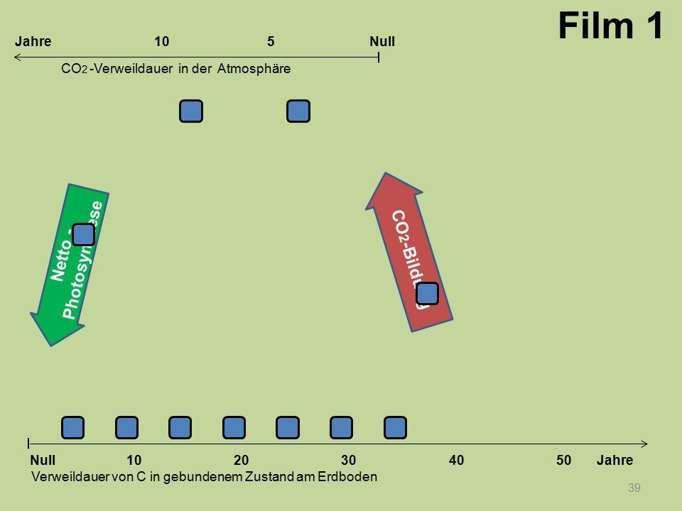 Netto - Photosynthese CO 2 -Bildung 39 1020304050 Jahre Verweildauer von C in gebundenem Zustand am Erdboden CO 2 -Verweildauer in der Atmosphäre Null